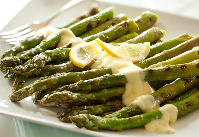 Asparagus with Almond Sauce - Nicole Aloni Culinary Studio
