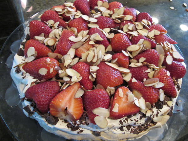 Strawberry Chocolate Meringue  Torte
